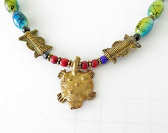 Trade Bead Necklace, African Goldweight Turtle Pendant, Vintage Bohemian Trade Beads, OOAK, Tribal Necklace, Boho \Necklace, Totem necklace