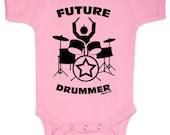 Future Drummer Rock Baby One Piece Bodysuit Romper in Pink