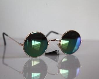 Vintage  Gold Frame, Blue-Green Metallic Round lenses. OPTICON'S. Made in Greece