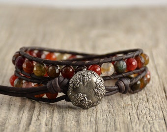 Leather wrap bracelet. Colorful wrap. Beaded multicolor jewelry