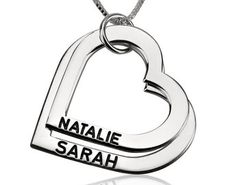 Sterling Silver Engraved Heart Mother Necklace with chain