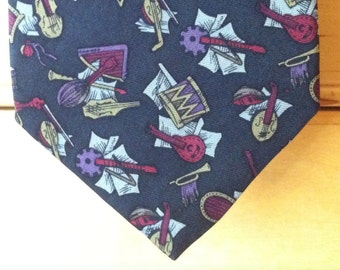 Vintage Mens Necktie, Liberty of London Musical Instruments Pattern Silk Tie in Deep Navy Blue with Red Grey and Yellow, Archival Print