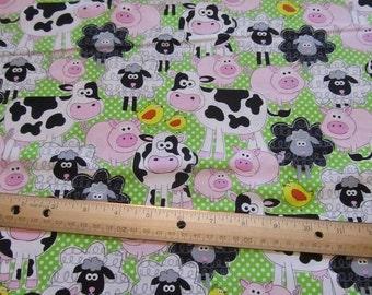 Green Polka Dot withFarm Animal/ Cow/Pig/Goat/Sheep Cotton Fabric by the Yard
