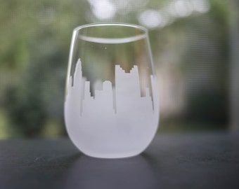 Etched Columbus, Ohio Skyline Silhouette Wine Glasses or Stemless Wine Glasses