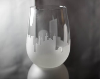 Etched Lyon, France Skyline Silhouette Wine Glasses or Stemless Wine Glasses