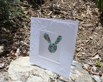 bunny card , blank inside , greetings card