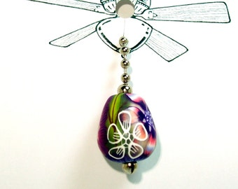 Fan or Light Pull for Ceiling Fan or Chain Pull for Lamp Bright Colored Flowers