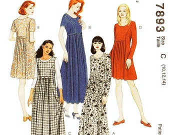 McCall's Dress Pattern 7893 - Misses' Dress or Jumper in in Five Variations  - SZ 10/12/14