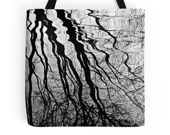 Rain Tote Bag, Tree Reflection Bag, Rain Reflection Bag, Rain Bag, Rain Trees Bag, Rain Trees Purse, Rain Trees Photo, Rain Photography Bag