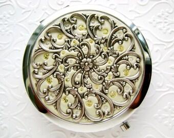 2-in-1 Compact Mirror Pill Box Custom Color Classic Filigree Ornate Design and Swarovski Crystals