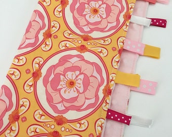 Quick Ship!...Lovey Ribbon Sensory Blanket...Pink/Orange Flowers with Pink Minky...Can Be Personalized...No Loops