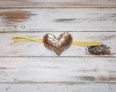 Valentine's Day Gold Puffy Heart Skinny Elastic Headband/Gold Glitter Heart Headband/Infant, Toddler, Girls Gold Glitter Heart Headband