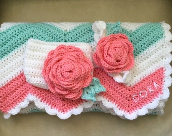 Coral and Mint Baby Girl Set