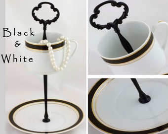 Teacup Stand Jewelry Display, Black White China Tea Cup Jewelry Organizer Tea Party Decor Catchall Tray, Hostess Gift