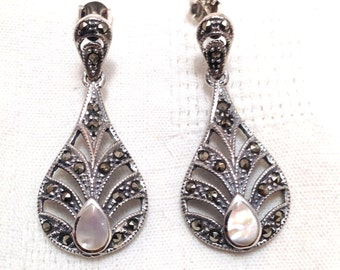 925 Sterling silver Art deco style mother of pearl and marcasite earrings vintage antique
