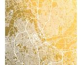 Nashville Map Print, Nashville Gold Foil Print, Nashville Wall Art, Gold Wall Art, Music City in Gold, Street Map Print