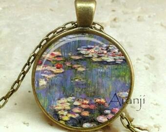 Monet's Waterlilies, Monet fine art pendant, Monet necklace, Monet pendant, Waterlilies necklace, Waterlilies pendant, Monet Pendant#AR131BR
