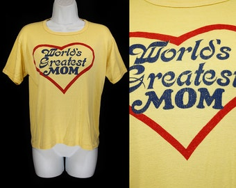 "Vintage 70's SPORTIQUE ""World's Greatest Mom"" T- Shirt XL"