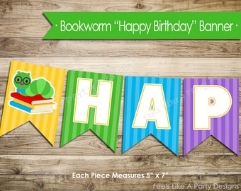 Bookworm Happy Birthday Banner - Instant Download