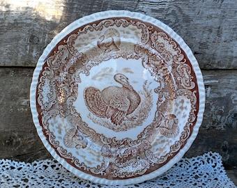 "Brown Transferware Turkey Dinner Plate 10 1/4"", R & M Company, Rowland Marcellus, Staffordshire England, Thanksgiving, Wall Decor, Ironstone"