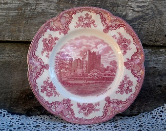 "Vintage JOHNSON BROTHERS Dinner plate, 10"", ""Blarney Castle 1792"", Red Transferware, Serving Plate, Wall Decor"