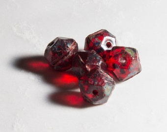 10 pcs - 10mm English Cut Czech Glass Nugget Beads - Red Picasso