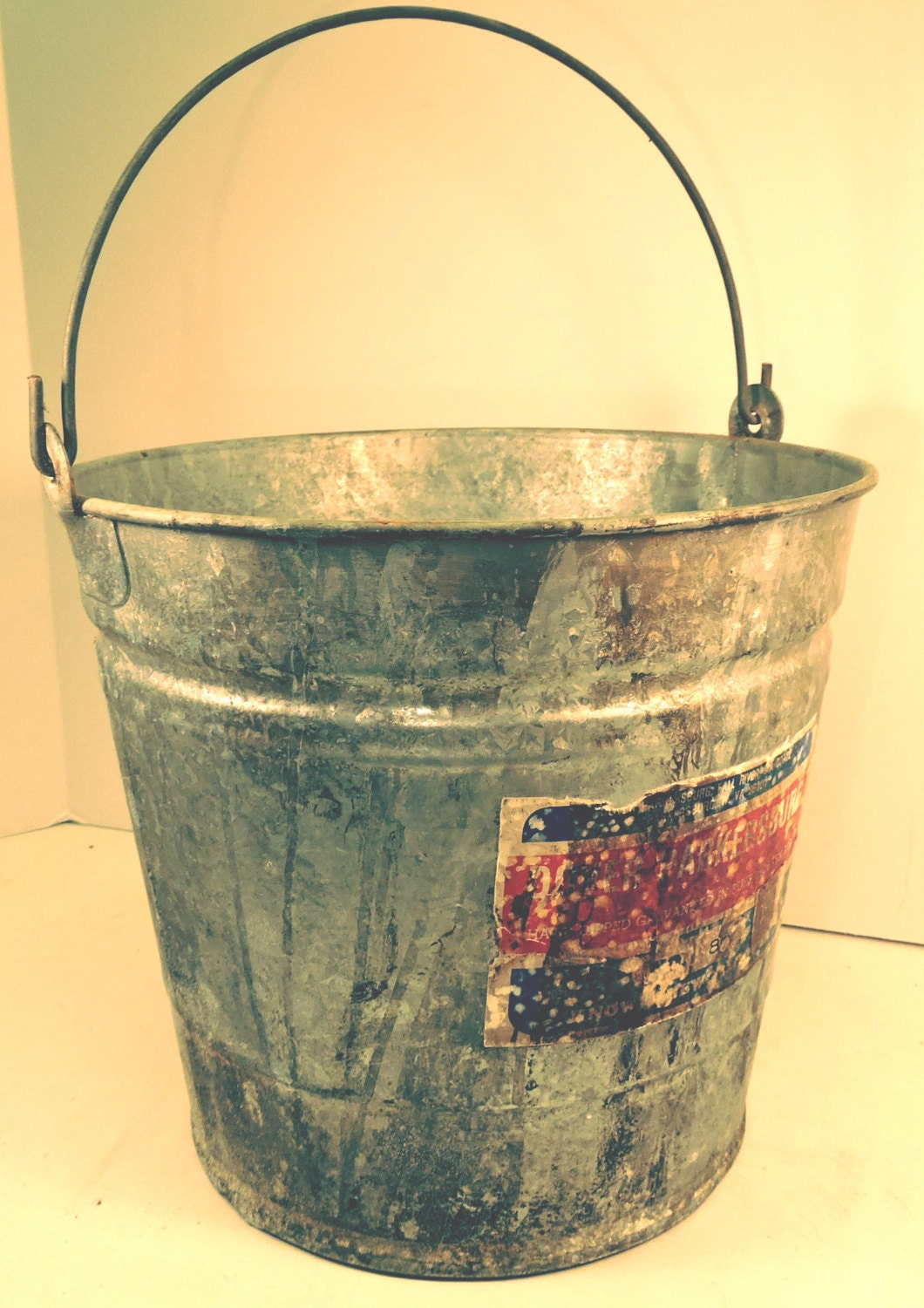 Galvanized pail bucket vintage rustic farmhouse garden for Rustic galvanized buckets