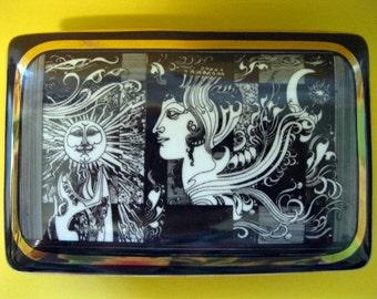Hollowhaza Hungary, Ceramic Dresser, Trinket, Jewelry Box,  Endre Szasz, 1960's Surrealist, Black, White, Gold.