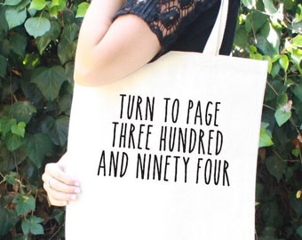 Harry Potter Tote Bag - Severus Snape - Turn to Page 394 - Alan Rickman - Hogwarts - Book Bag
