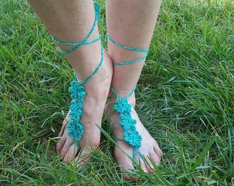 Two-ToNed Blue Flower Crocheted Barefoot Sandals