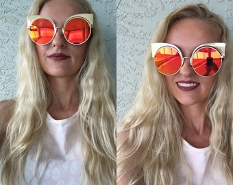 Orange Round Sunglasses/ Mirror Tint Sunglasses/ Cat Eye Sunglasses/ Gold Sunglasses/ Orange Sunnies/ Rose Gold Sunglasses/ Round Sunglasses