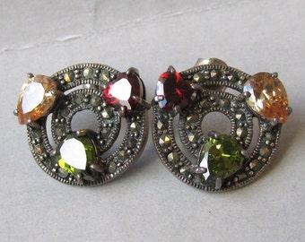 Vintage Sterling Silver, Marcasite & Multi Gemstone Button Pierced Earrings