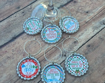 Christmas Vacation wine glass charms- stemless available