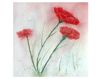 Watercolor Flowers, Original Watercolor, Flower Painting, Floral Painting, Still life, Red Carnations, Wall Art, Minimalist Flower Painting