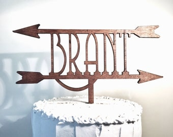Personalized Wooden Wedding Cake Topper: Last Name Between Two Arrows, Monogram Cake Topper, Rustic Cake Topper, Handmade Cake Topper