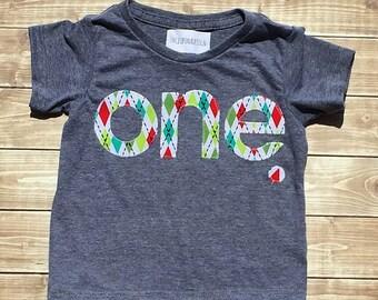 First Birthday// One//Boy//Shirt//Argyle Print //Birthday Shirt//READY TO SHIP
