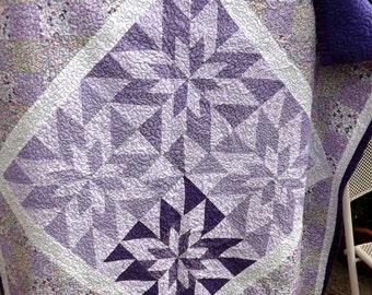 Purples & White Patchwork Throw - Handmade