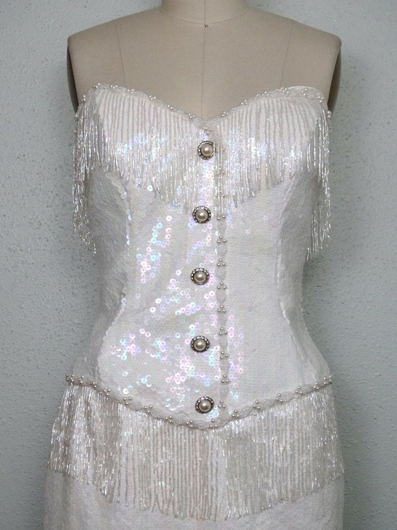 Lillie Rubin Fringe Beaded Dress Iridescent Sequined By