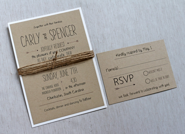 Modern Wedding Invitation: Modern Wedding Invitation Rustic Wedding Invitation Kraft