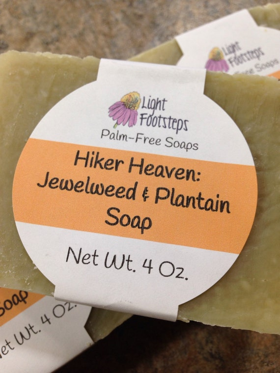 Hiker Heaven Jewelweed and Plantain Herbal Soap for Poison Ivy Prevention and Bug Bites - Palm-oil free - Vegan - Handmade - Artisan