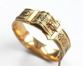 Victorian Buckle Bracelet, antique buckle bangle, gold-filled antique bracelet, taille d'épargne, antique bracelet, Victorian bracelet