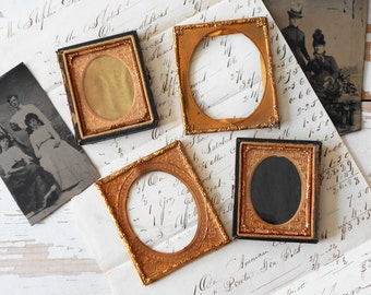 Antique Lot Daguerreotype Ambrotype 2 Empty Half Cases With Glass & 2 Brass Mats