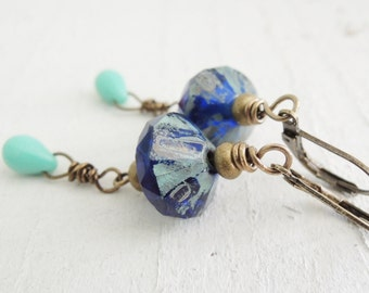 Indigo Blue and Turquoise Earrings Beaded Dangle Earrings Artisan Glass Rustic Earthy Style Bohemian Colorful Earrings Cobalt Blue Earrings