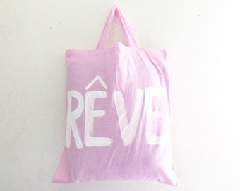 READY to SHIP Rêve Dream Pink TOTE Shopper Cotton Pastel French Summer Unisex Handheld Bag / Eve Damon