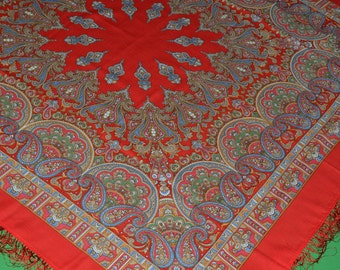 Authentic Large Russian Pavlovo Posad Shawl Scarf  100% wool Magic Dance