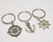 3 Compass Anchor Rudder Best Friend BFF Keychains