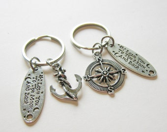 2 I Love You To The Moon And Back Compass And Anchor Best Friends Keychains, Couples Keychains, BF GF Keychains, Sisters Keychains, Bff Gift