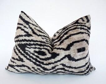 zebra velvet pillow // black ikat velvet pillow // zebra pillow
