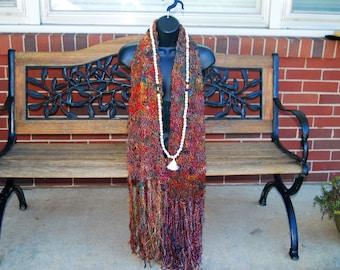 Hand Knitted Meditation Shawl / Scarf/Silk Sari Yarn/Recycled