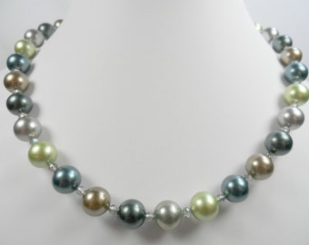Pearl Necklace in Sterling Silver with Silver Pearl Leverback Earrings - 20 inch length